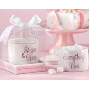 Kate Aspen Sugar, Spice and Everything Nice Ceramic Sugar Bowl - Set of 6 - Hostess Gift, Guest Gift, Party Souvenir, Party Favor or Decorations for Baby Showers & More