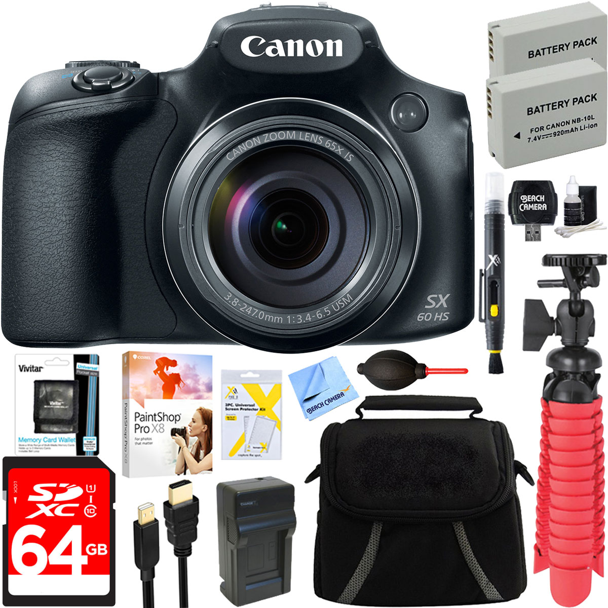 Canon PowerShot SX60 HS 16.1MP 65x Optical Zoom Wide Angl...