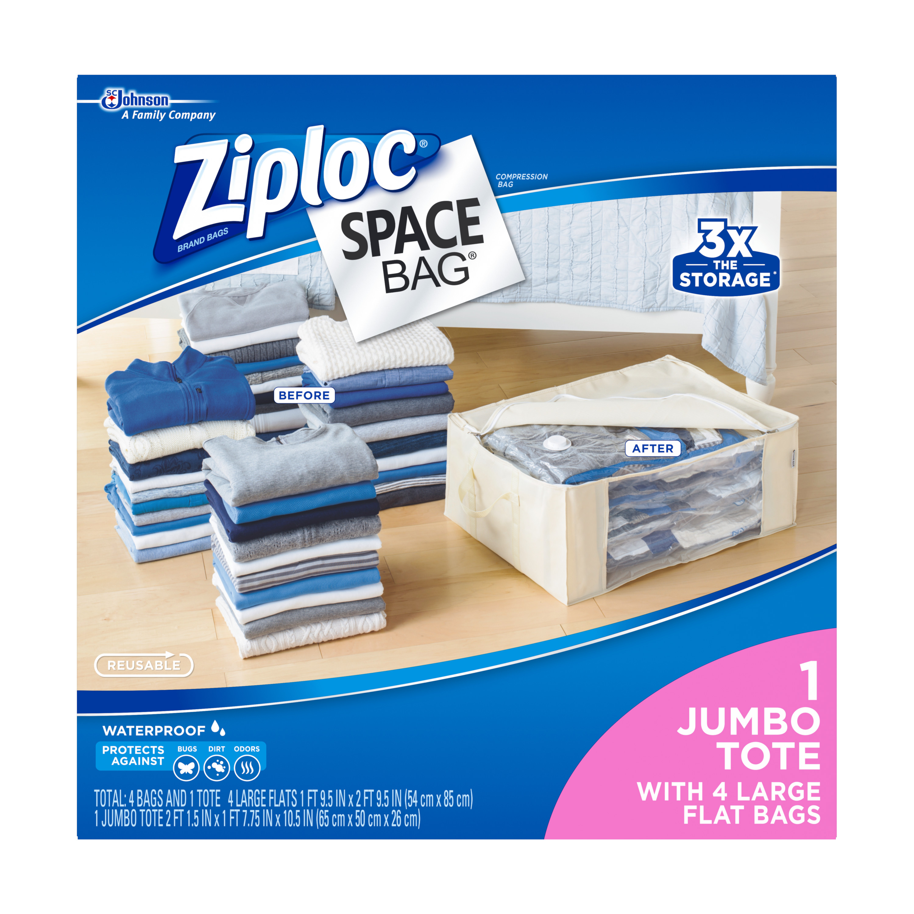 Ziploc Space Bag 5 Count: 4L Flat Bags, 1 Underbed Tote