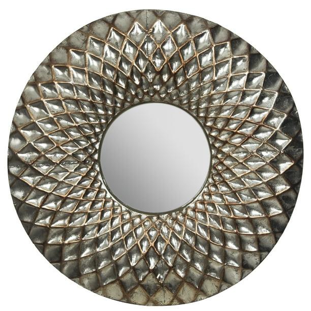 Hammered Lattice Round Metal Wall, Round Silver Wall Mirror Metal