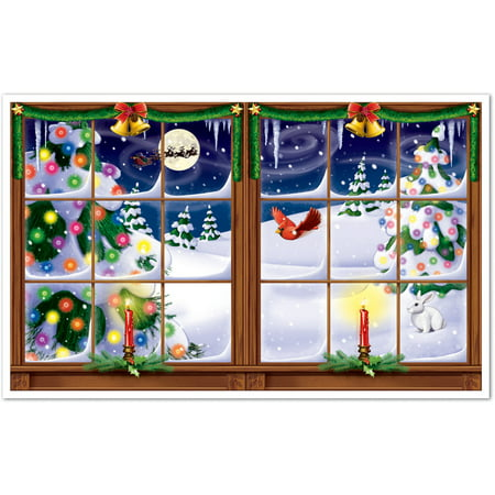3' Feet x 5' Feet Snowy Christmas Insta-View Festive Scene Setter Wall Decal
