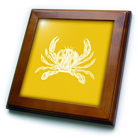 3dRose White crab. Golden gold yellow. Nautical beach sea ocean marine animal - Framed Tile, 6 by 6-inch