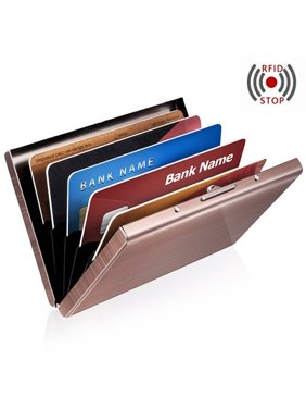 Anti-scan Stainless Steel Case Slim RFID Blocking Wallet ID Credit Card Holder - Rose Gold