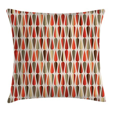 Retro Decor Throw Pillow Cushion Cover, Home Decor 60s 70s Style Geometric Round Shaped Design with Warm Colors Print, Decorative Square Accent Pillow Case, 18 X 18 Inches, Multicolor, by Ambesonne](60s Decor)