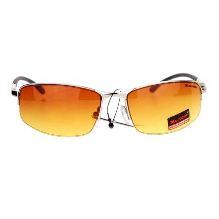 Xloop HD Lens Half Rim Metal Sport Mens Sunglasses Silver