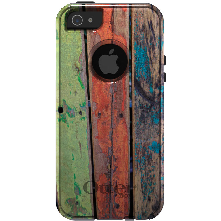 DistinctInk™ Custom Black OtterBox Commuter Series Case for Apple iPhone 5 / 5S / SE - Rough Painted Wood