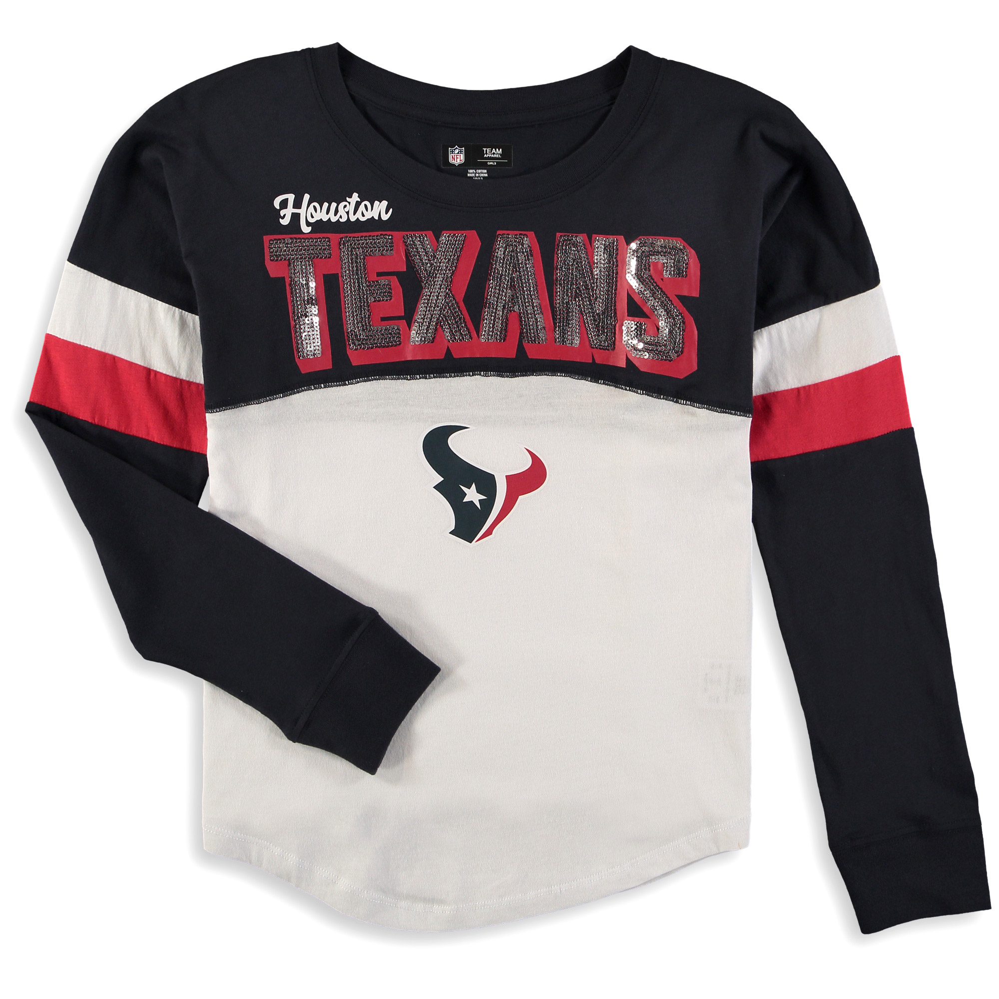 Houston Texans New Era Girls Youth Baby Jersey Long Sleeve T-Shirt - White/Navy