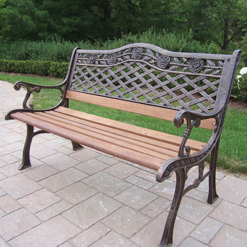 Oakland Living Tea Rose Wood and Cast Iron Park Bench