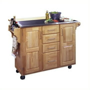 Natural Breakfast Bar Kitchen Cart with SS Top