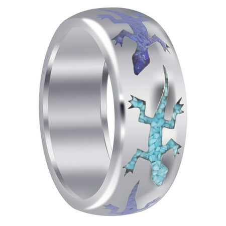 Gem Avenue Men's 925 Sterling Silver Lizard Turquoise and Lapis Inlay Band