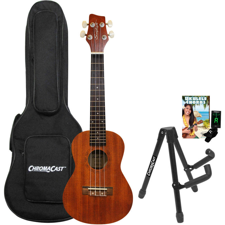 Sawtooth Mahogany Series Concert Ukulele with Preamp, Padded Bag, Quick Start Guide, Stand, and Tuner