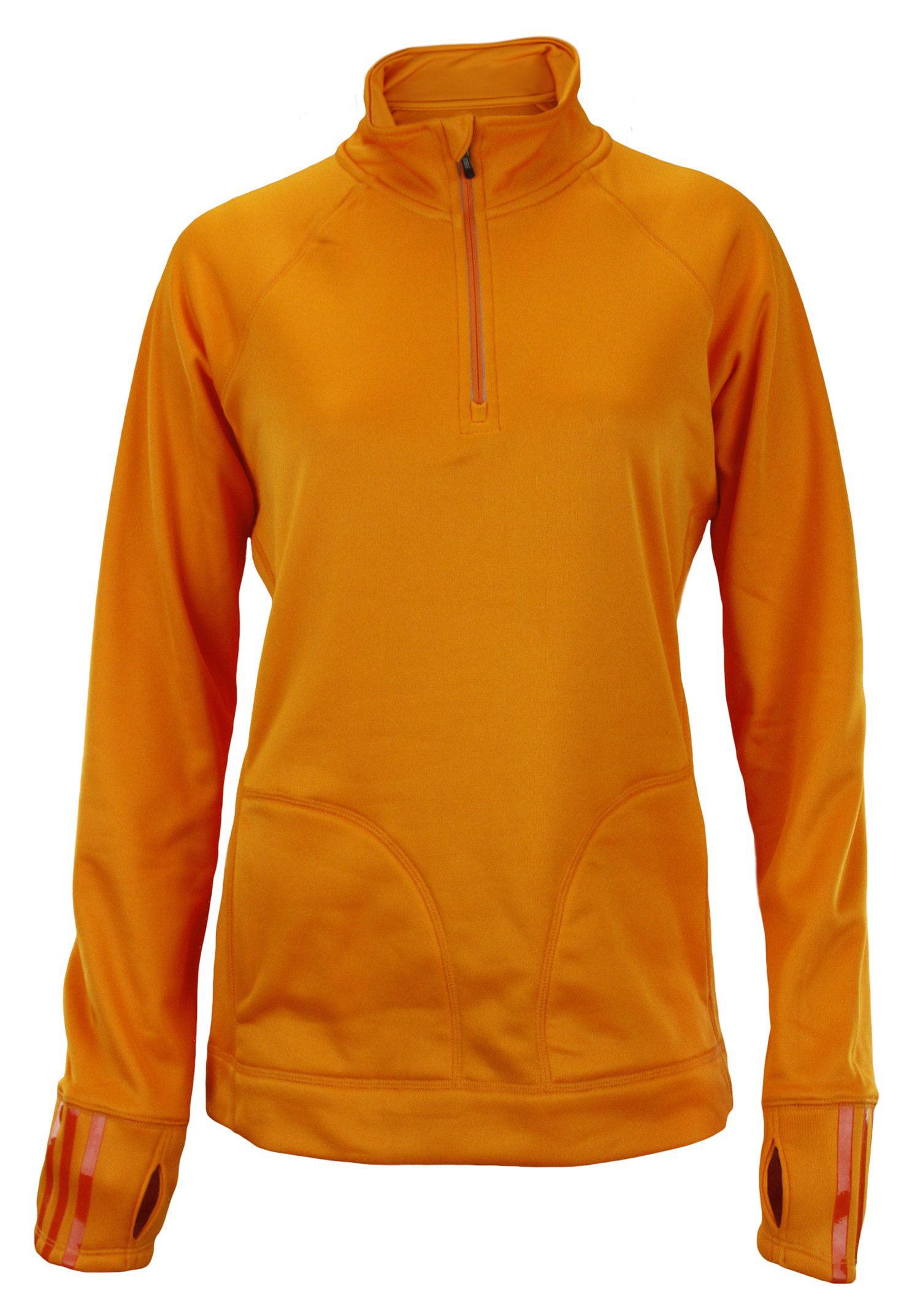 Adidas Women's 1/4 Zip Training Track Jacket - Orange & Blue