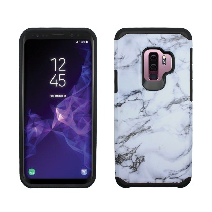 White Grey Marble Design Duo Slim Case For Samsung Galaxy S9 PLUS Phone