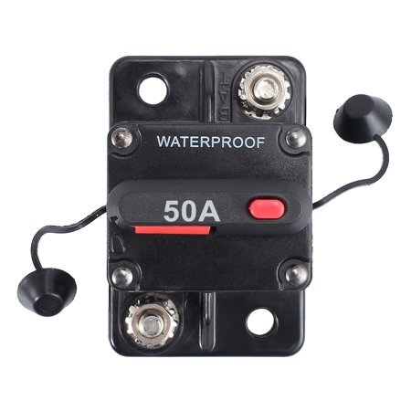 ESYNIC 50A Surface Mount Circuit Breaker AMP Circuit Breaker Dual Battery IP67 Waterproof 12V 24V Fuse Reset Circuit Breaker Surface Mount Circuit Breaker