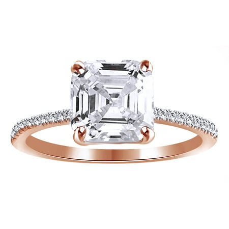 Asscher Cubic Zirconia Ring - Asscher Cut White Cubic Zirconia Promise Ring In 14k Rose Gold Over Sterling Silver