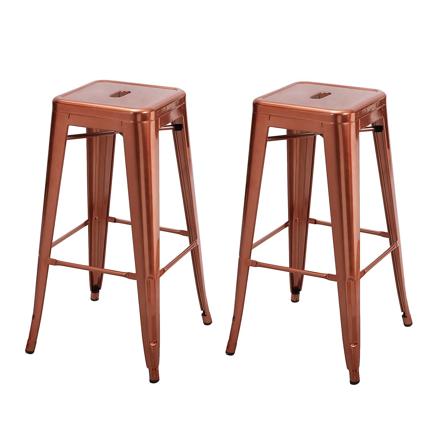 Homebeez 30 inches Metal Bar Stools Tolix Style Counter Height Stools Outdoor Industrial Bar Stools, Set of 2 (Glossy Gold Coffee)