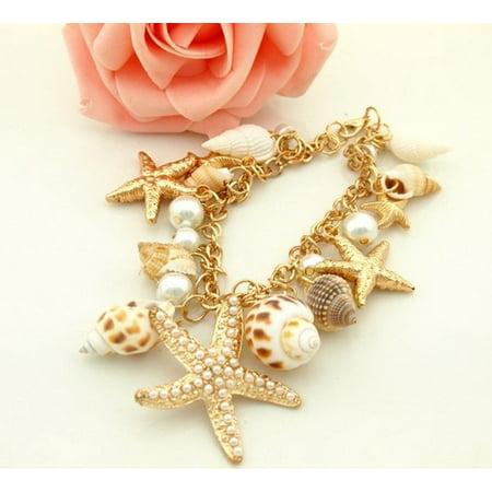 - Ocean Sea Shell Starfish Faux Pearl Bracelets Bangles Pendant Jewelry