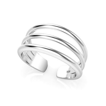 Sterling Silver 3 Row Adjustable Toe Band Ring (Adjustable Star Toe Ring)