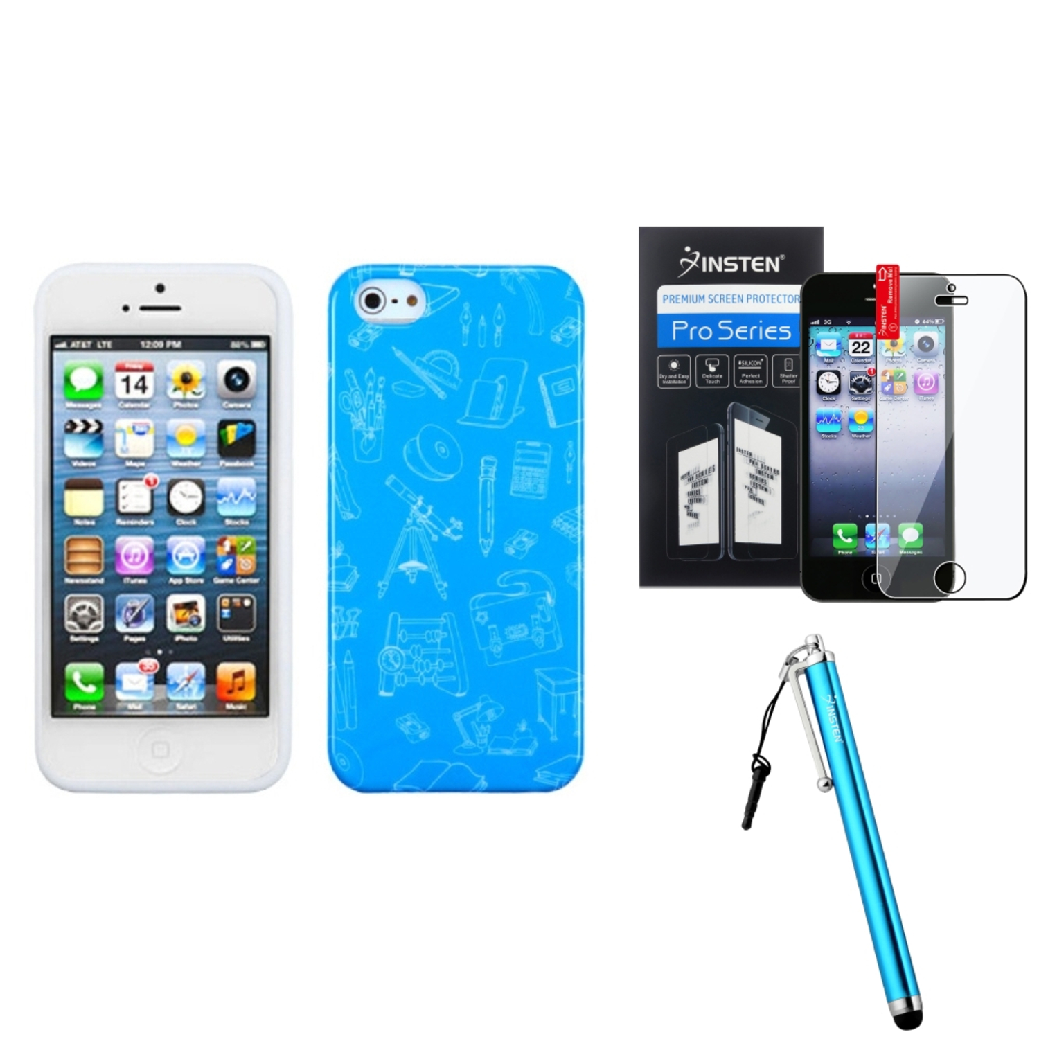 Insten School life/Blue Candy Skin Case For iPhone SE 5S 5 + Stylus + Protector