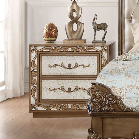 ACME Orianne Nightstand in Antique Gold and Mirrored ()