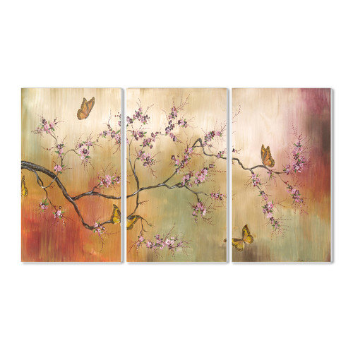 Stupell Industries Pink Blossoms and Butterflies Triptych 3 pc Wall Plaque Set