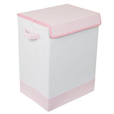 Birdrock Home Baby Clothes Hamper With Lid Folding Cloth Handles Dirty Sorter Bin Easy Storage Collapsible Pink And