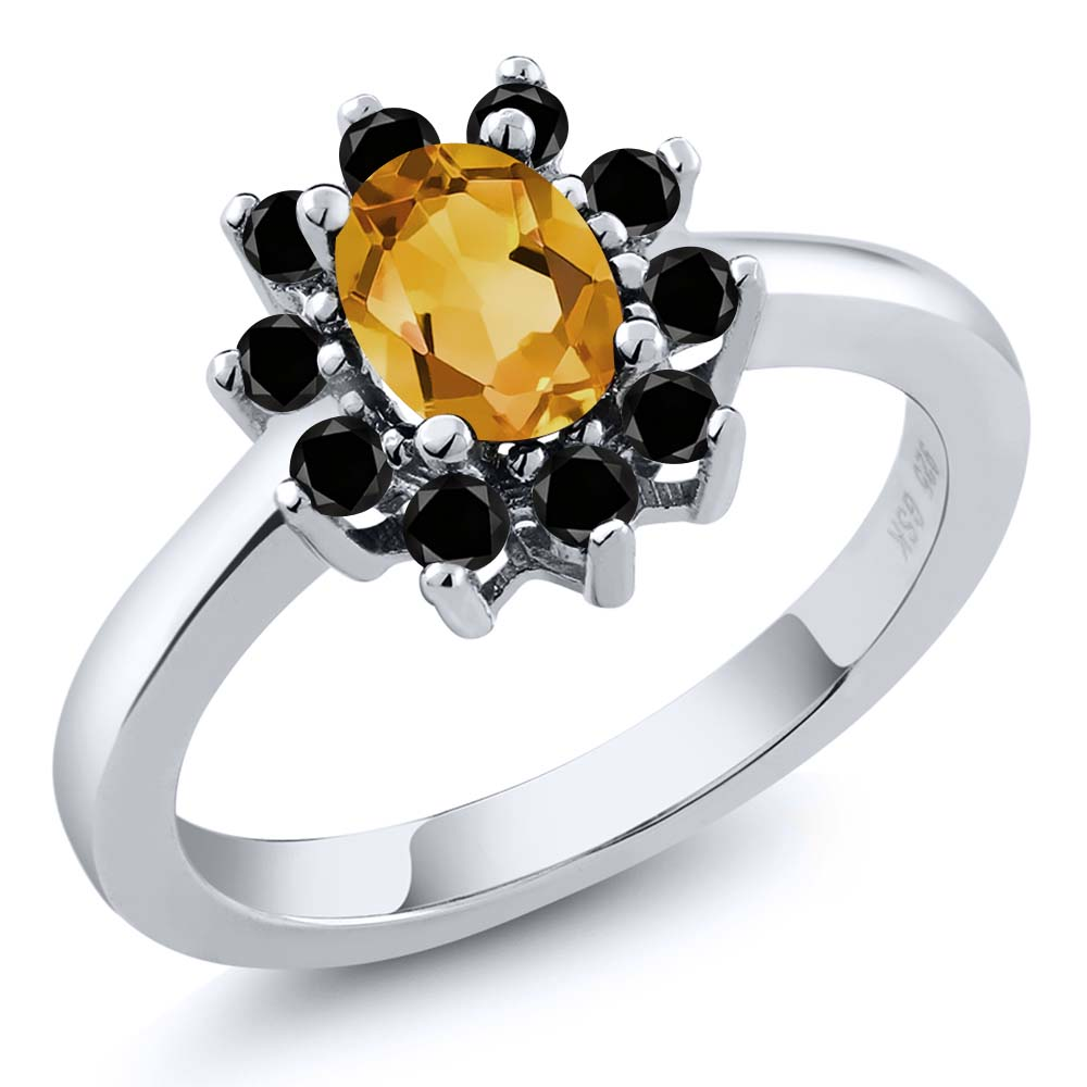 0.93 Ct Oval Yellow Citrine Black Diamond Sterling Silver Ring