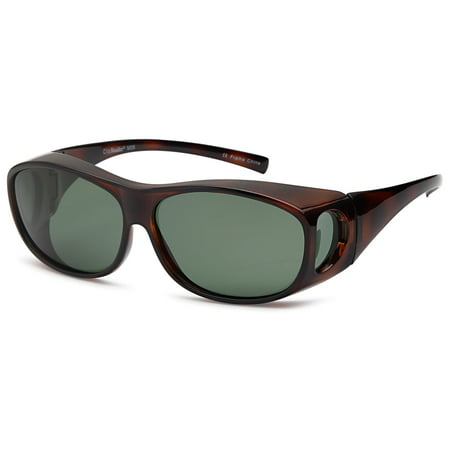 ClipShades Polarized Fit Over Sunglasses for Prescription Glasses - Olive Lens on Tortoise (Clubround Sunglasses)