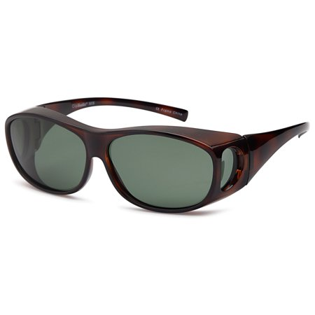 ClipShades Polarized Fit Over Sunglasses for Prescription Glasses - Olive Lens on Tortoise (Justice Fake Glasses)