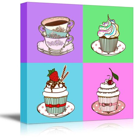 wall26 Canvas Wall Art - Multi-Color Pop Art with Cupcakes - Giclee Print Gallery Wrap Modern Home Decor Ready to Hang - 16