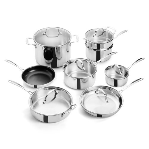 14 Piece Braized Bottom Stainless Steel Cookware Set with Glass Lids by