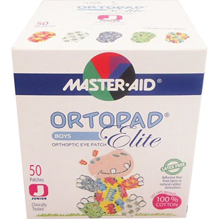 Ortopad Elite Boys Eye Patches - with Glitter Accents, Junior Size (50 Per