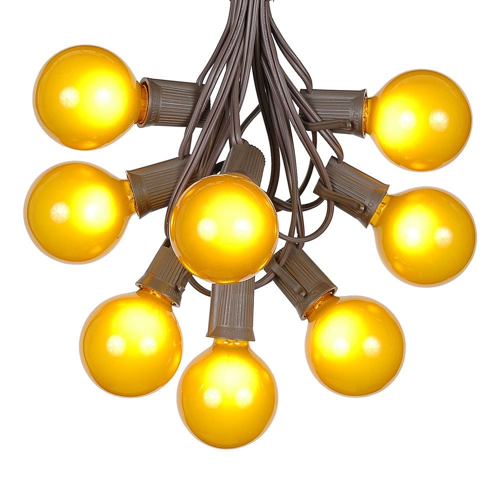 G50 Patio String Lights with 125 Clear Globe Bulbs – Outdoor String Lights – Market Bistro Café Hanging String Lights – Patio Garden Umbrella Globe Lights - Brown Wire - 100 Feet