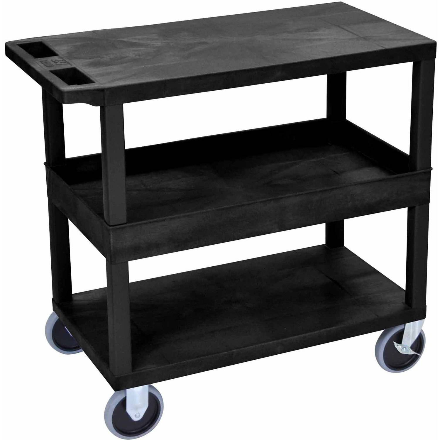 "Luxor EC212HD 18"" x 32"" Cart with 2 Flat/1 Tub Shelves"