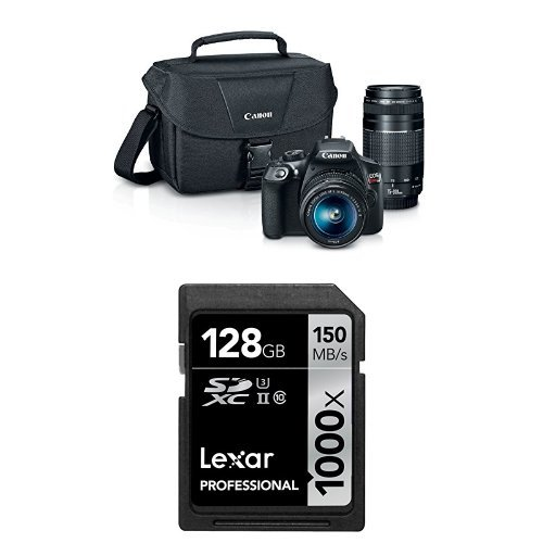 Canon EOS Rebel T6 Digital SLR Camera Kit with EF-S 18-55mm and EF 75-300mm Zoom Lenses (Black) + Lexar 128GB Memory... by Canon