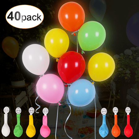 AGPTEK 40PCS LED Light Up Balloons, Mixed Color Luminous Balloon with Ribbon for Parties, Birthdays Decorations (Balloons With Designs)