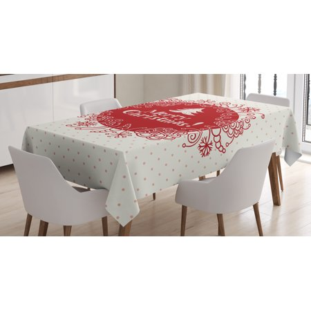 Christmas Table Decoration (Christmas Decorations Tablecloth, Merry Christmas Greeting with Sketchy Tree Swirled Doodles Frame, Rectangular Table Cover for Dining Room Kitchen, 60 X 84 Inches, White Red Coral, by)