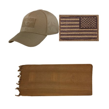 Flex Brown Cap Small/Medium + USA PATCH COYOTE RIGHT + Coyote/Brown Shemagh