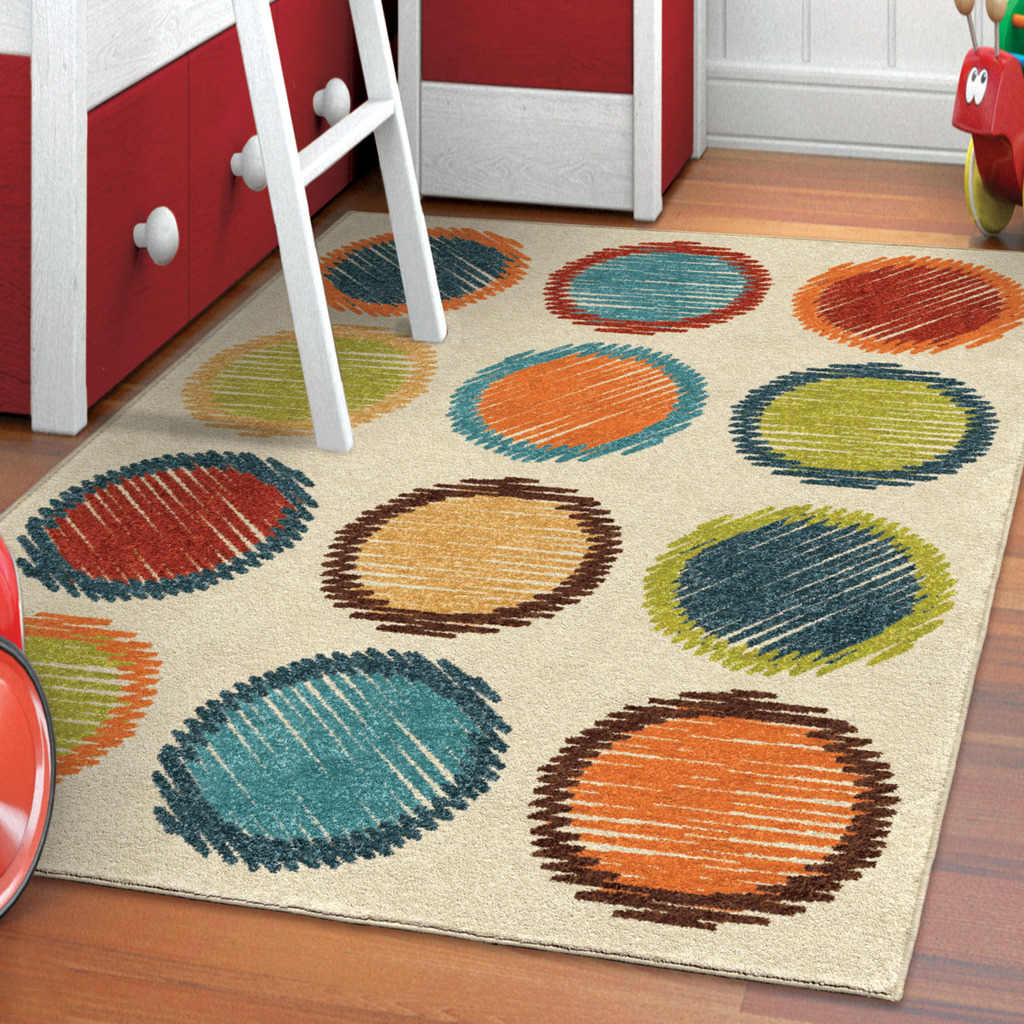 Better Homes and Gardens Shaded Circles Orange Area Rug or Runner