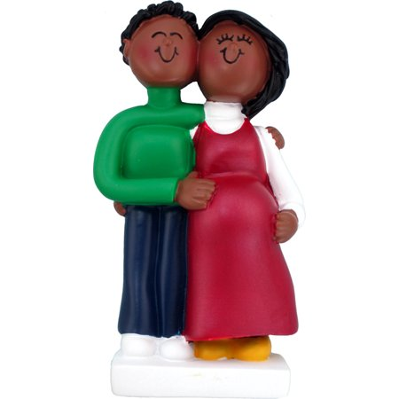 Pregnant Couple Both African-American Personalized  Christmas Ornament (Personalized Christmas Ornaments Couple With 2 Dogs)