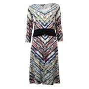 Miraclesuit NEW White Ivory Printed Women's Size 14 V-Neck Sheath Dress $89
