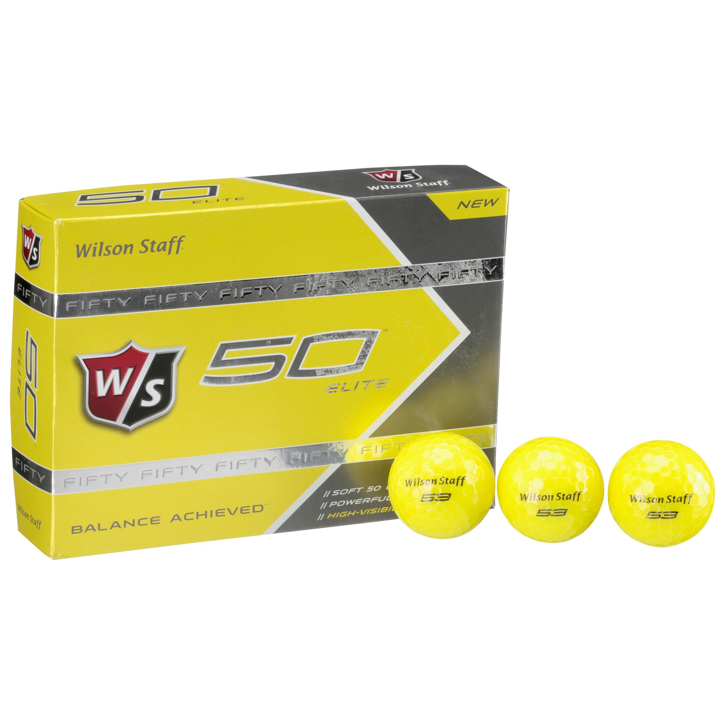 Wilson Staff 50 Elite Golf Balls, Yellow, 12 Pack