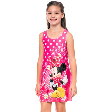Girls Minnie Mouse Tank Dress Pink Polka-Dot Flowers - Minnie Mouse Pink Dress
