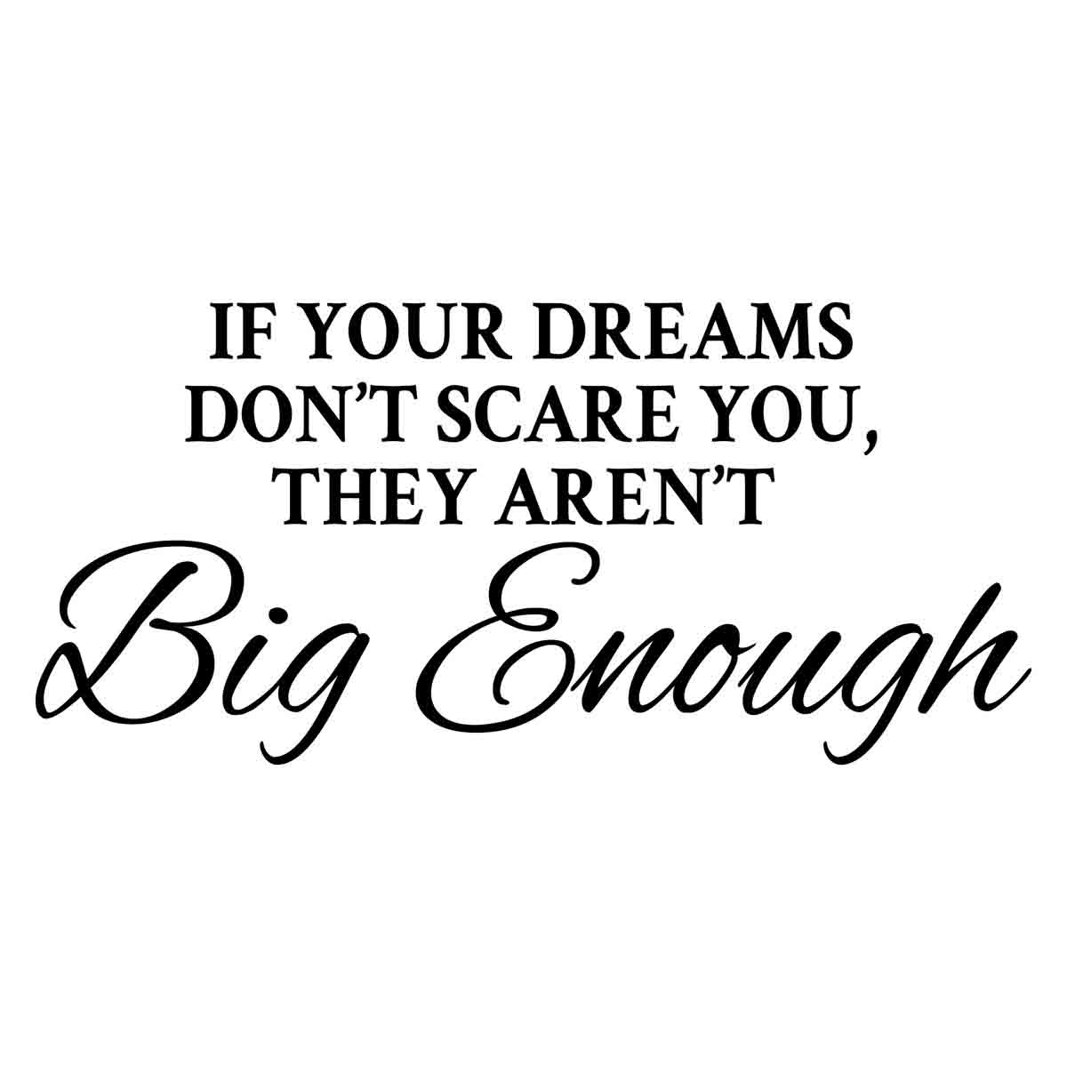 IF YOUR DREAMS DON/'T SCARE YOU-2 WALL LETTERING DECAL VINYL HOME DECAL STICKER