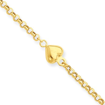 14k Yellow Gold Puff Heart 9 Inch 1 Adjustable Chain Plus Size Extender Anklet Ankle Beach Bracelet Gifts For Women For Her - Beach Bracelets