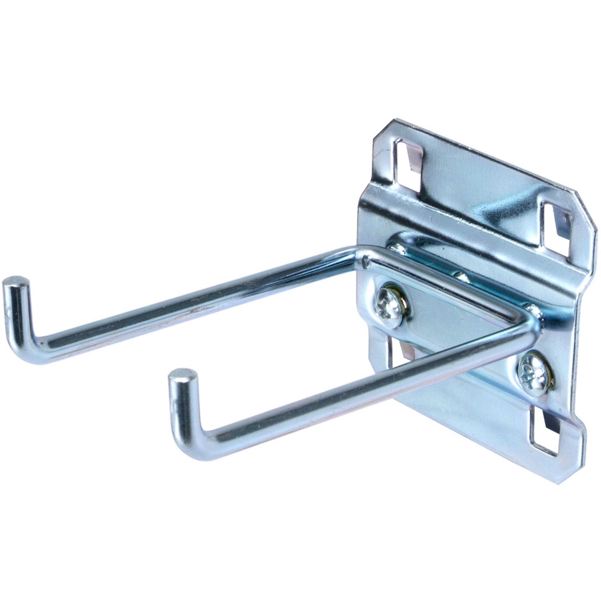"""LocHook 3"""" Double Rod 90-Degree Bend 3/16""""D Zinc Plated Steel Pegboard Hook for LocBoard, 5pk"""