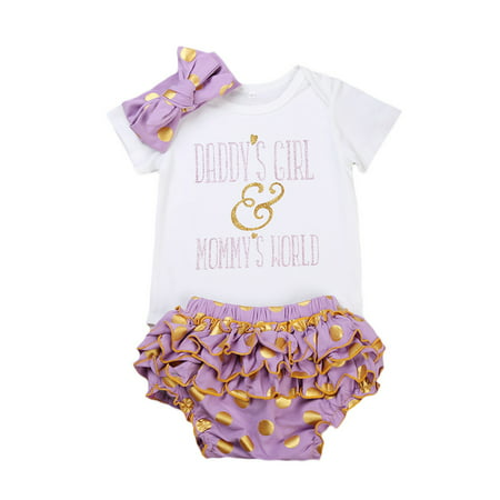 Newborn Baby Girls Bodysuit Rompers + Gold Dot Ruffle Shorts + Headbands Clothes Outfits ()