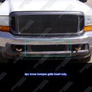 Fits 99-04 Ford F250/F350/F450/Excursion Bumper Black Billet Grille Grill Insert