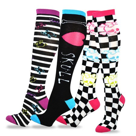 TeeHee Novelty Cotton Knee High Fun Socks 3-Pack for Junior and Women ()