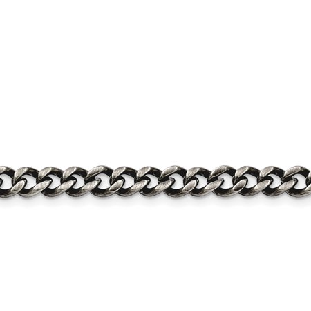Stainless Steel 6.70mm Polished and Antiqued Curb Chain 24in - image 3 of 3